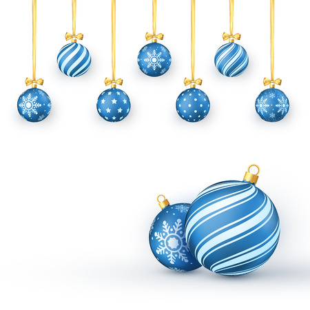 New Year background with blue Christmas balls golden ribbons and bows. Vector illustration