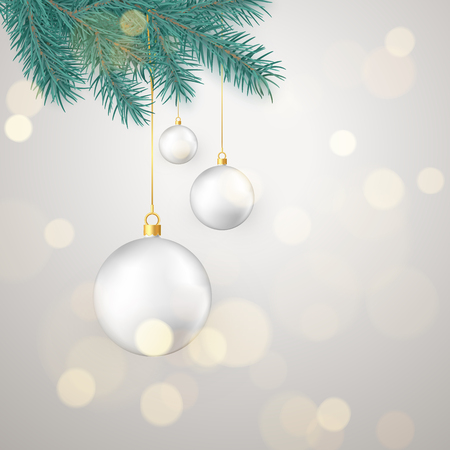 White Christmas balls hanging on New Year tree branch. Winter holiday decoration element. Vector illustration isolated on white background