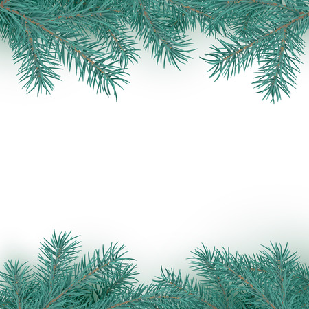 Fir branch border pattern. Winter holiday decoration element on white background with copy space for greeting text. Vector illustration