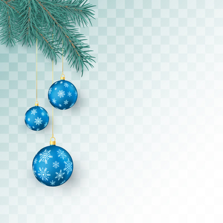 Christmas decoration elements isolated on transparent background. Fir twigs and blue Christmas balls with snowflakes ornament. Xmas baubles. Vector illustration