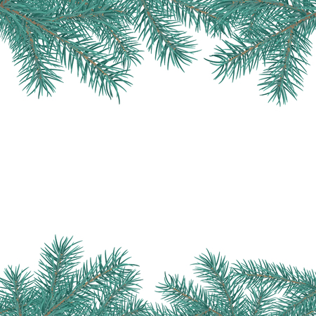 Fir branch border. Winter holiday decoration element on white background with space for greeting text. Vector illustration