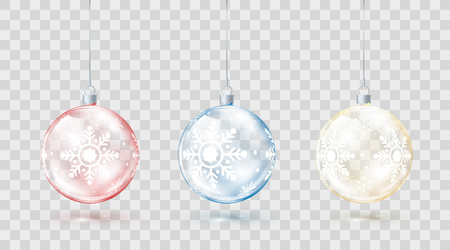 Template of glass transparent Christmas balls. Element christmas decorations. Shiny colorful toys with golden red and blue glow. Vector illustration isolated on transparent background