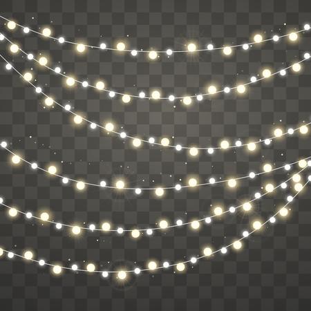 Weihnachtsbeleuchtung. Weihnachten leuchtende weiße und gelbe Girlande. Urlaub dekorative Gestaltungselemente. Girlanden Dekorationen. Vektorillustration lokalisiert auf transparentem Hintergrund