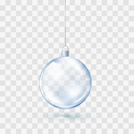 Blue Glass transparent Christmas ball. Xmas glass ball on transparent background. Holiday decoration template. Vector illustration