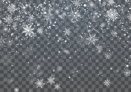 Christmas background with falling snowflakes. Winter holiday background. Vector illustration