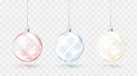 Glass transparent Christmas balls. Element christmas decorations. Shiny colorful toys with golden red and blue glow. Vector illustration isolated on transparent background