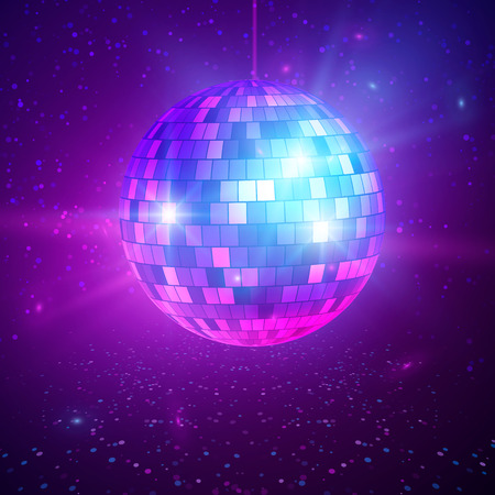 Disco or mirror ball with bright rays. Music and dance night party background. Abstract night club retro background 80s and 90s. Vector illustration