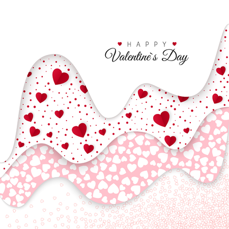 Happy Valentines Day. Holiday Decoration Elements. Romantic Weeding Design. Background with Ornaments and Hearts. Vector illustration
