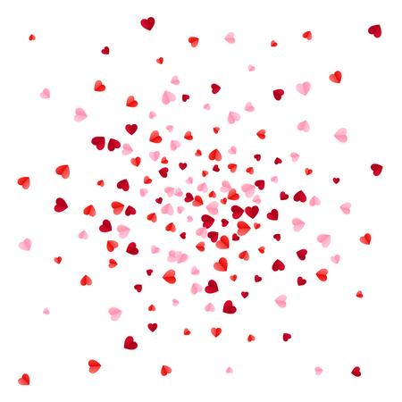 Confeti de corazones de papel de dispersión rojo y rosa. Ilustración de vector aislado sobre fondo blanco.