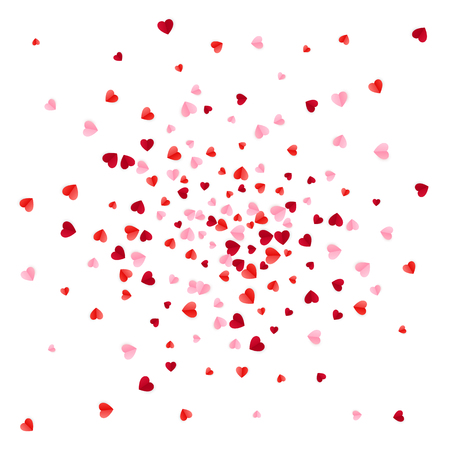 Red and pink scatter paper hearts confetti. Vector illustration isolated on white background