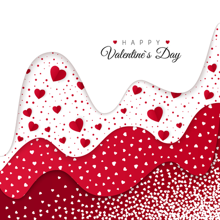 Happy Valentines Day greeting card. Holiday Decoration Elements. Romantic Weeding Design. Background with Ornaments and Hearts. Vector illustration