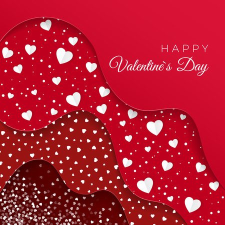 Happy Valentines Day greeting card. Red Layers with different Decorative Elements. Paper White Hearts. Romantic Weeding Design. Background with Ornaments and Hearts. Vector illustration Illustration