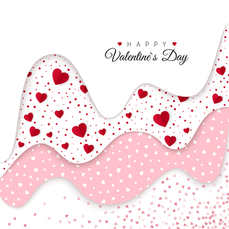 Happy Valentines Day greeting card. Holiday Decoration Elements. Layers with different decorative elements. Romantic Weeding Design. Background with Ornaments and Hearts. Vector illustration