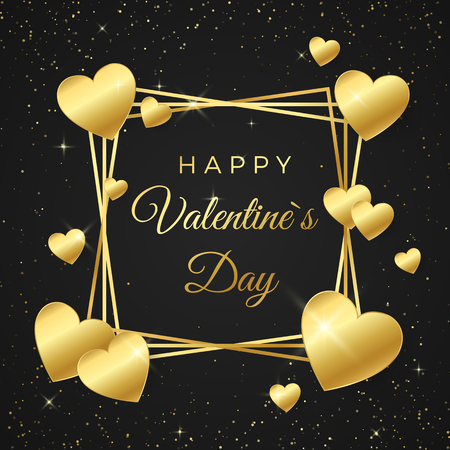 Gold heart and frame with text on white background. Concept for Valentines banner. Happy Valentines day greeting card. Vector illustration isolated on black background