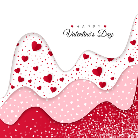 Happy Valentines Day greeting card. Red Wavy Layers Decorated White Hearts. Romantic Weeding Design. Background with Ornaments and Hearts. Vector illustration