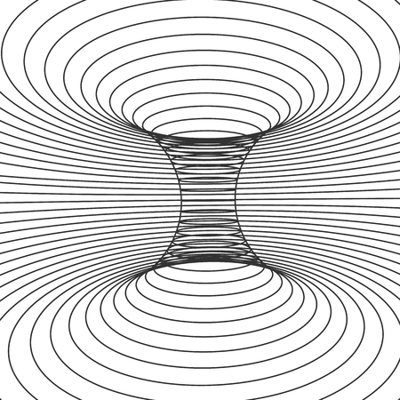 Abstract design frame of wormhole. Distort of space and time. Vector illustration isolated on white background