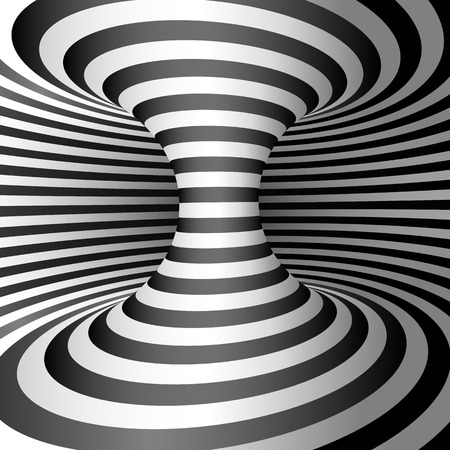 Optical illusion - Wormhole. Abstract 3d striped illusion.  Abstract Wormhole Tunnel. Design of optical illusion background. vector illustration