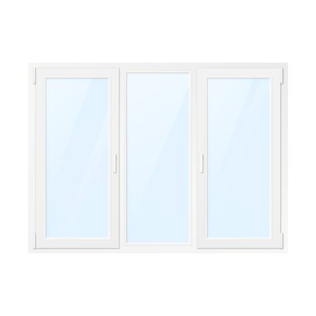 White Plastic Window. Window Front View. Vector Illustration Isolated on White Background