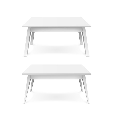 Realistic white tables. White office table with shadow. Vector illustration isolated on white background
