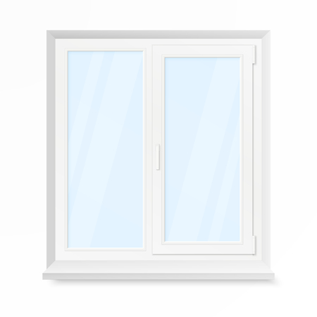 White Office Plastic Window. Window Front View. Vector Illustration Isolated on White Background Illustration