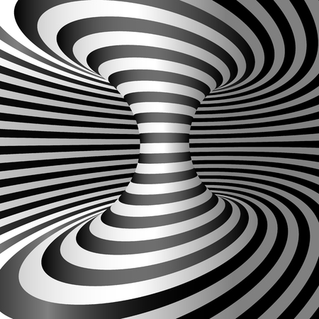 Optical illusion - Wormhole. Abstract 3d striped illusion. Design of optical illusion background. vector illustration Çizim