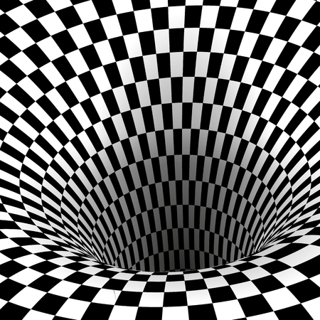 Abstract Wormhole Tunnel. Geometric Square Black and White Optical Illusion. Vector Illustration Illusztráció