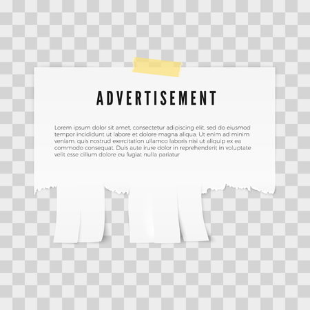 Advertisement tear-off paper template with copy space for text. Vector illustration isolated on tratsparent background Ilustracje wektorowe