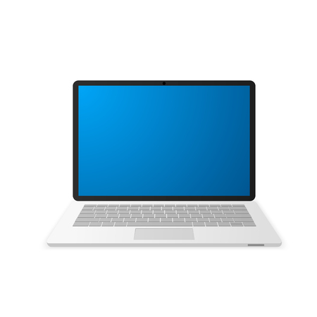 Laptop with empty blue screen. Notebook icon. Vector illustration