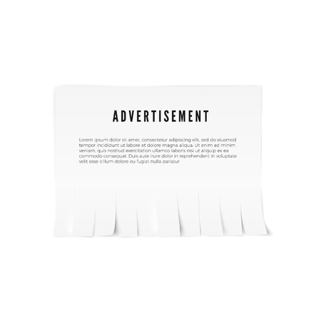 Tear-off paper template with advertisement text. Vector illustration Illustration