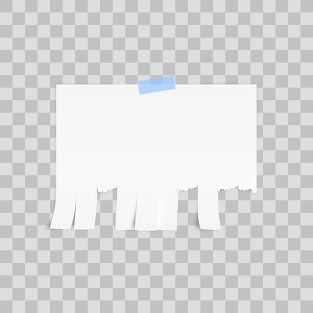 White advertisement Tear-off paper template on white background. Vector illustration