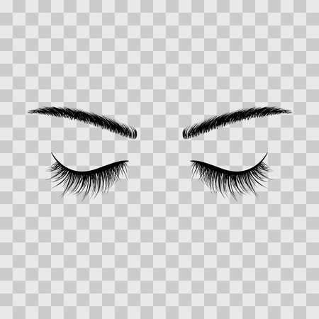 Black eyebrows and eyelashes eyes closed. Advertising false eyelashes. Vector illustration isolated on transparent background