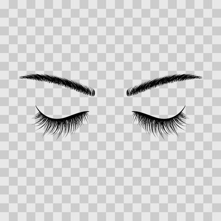 Black eyebrows and eyelashes eyes closed. Advertising false eyelashes. Vector illustration isolated on transparent background Vetores
