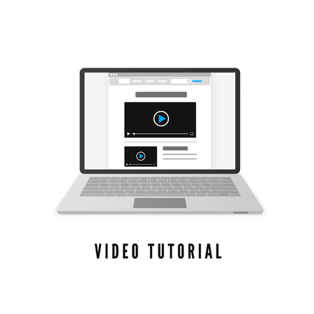 Video tutorial. Laptop with website on monitor. Vector illustration isolated on white background