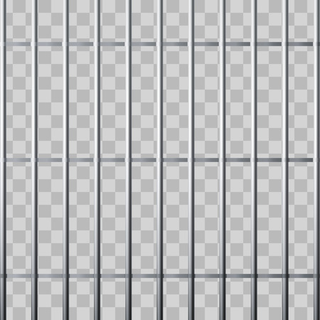 Prison grid. Metallic cage isolated on transparent background. Vector illustration Ilustração