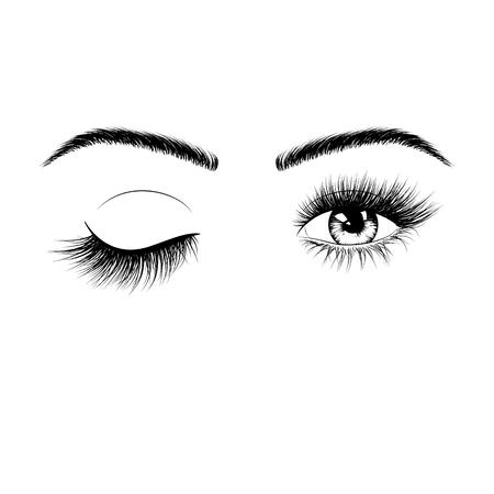 Hand getekende vrouwelijke ogen silhouet. Knip een oog uit. Ogen met wimpers en wenkbrauwen. Vectorillustratie geïsoleerd op een witte achtergrond Vector Illustratie