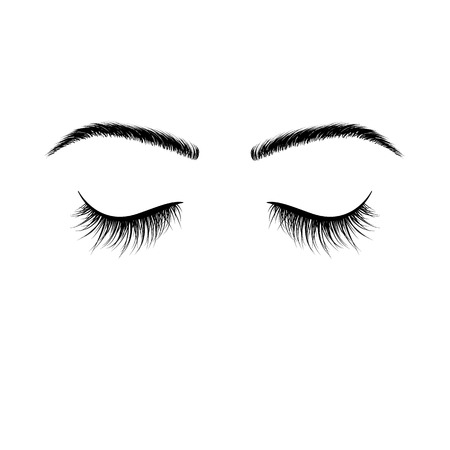 Closed eyes black eyelashes. False eyelashes. Vector illustration isolated on white background