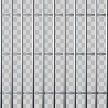 Prison grid. Metallic cage isolated on transparent background. Vector illustration Ilustrace