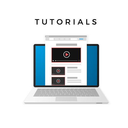 Banner design of video tutorials concept. Vector illustration isolated on white background