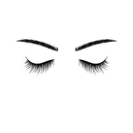 Black eyebrows and eyelashes eyes closed. Advertising false eyelashes. Vector illustration isolated on white background Çizim