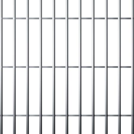 Silueta de la rejilla de la prisión. Jaula metálica aislada sobre fondo blanco. Ilustración vectorial