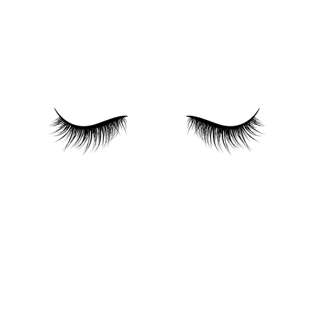 Black eyelashes isolated on white background. False eyelashes. Vector illustration