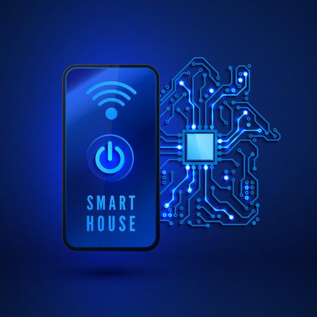 Smart home concept. Remote monitoring and control smart house from smartphone. Vector illustration on blue background Ilustração