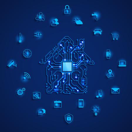 Intelligentes Haus oder IOT-Konzept. Smart-Home-Symbole gesetzt. Fernüberwachung und Steuerung des intelligenten Hauses. Hauskreis- und Smart-Home-Funktionssymbole. Vektorillustration auf blauem Hintergrund