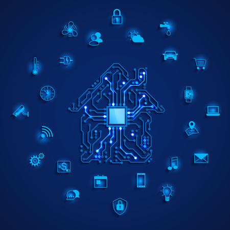 Smart house or IOT concept. Smart home icons set. Remote monitoring and control smart house. House circuit and smart home function icons. Vector illustration on blue background
