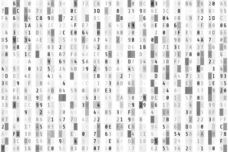 Hex code stream. Random hexadecimal code. Abstract digital data element. Matrix background. Vector illustration isolated on white background