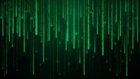 Numeri di matrice verde. Cyberspazio con linee digitali che cadono verdi. Sfondo astratto Illustrazione vettoriale