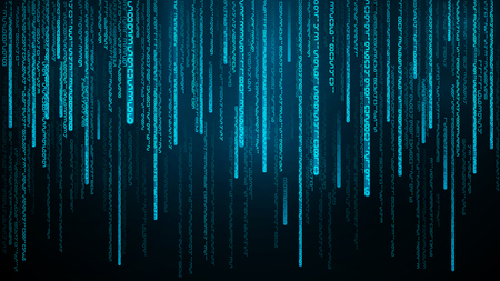 Blue numbers stream. Cyberspace with falling digital lines. Abstract matrix background Vector illustration Ilustração Vetorial