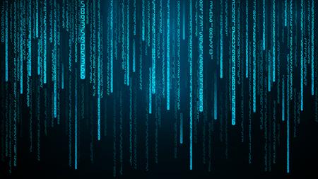 Flusso di numeri blu. Cyberspazio con linee digitali in caduta. Priorità bassa astratta della matrice Illustrazione vettoriale Vettoriali