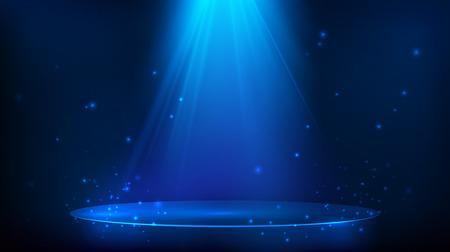 Scena illuminata con luce blu. Sfondo festa magica. Illustrazione vettoriale