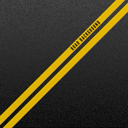 Abstract road background. Structure of granular asphalt. Asphalt texture with two yellow line road marking. Vector illustration